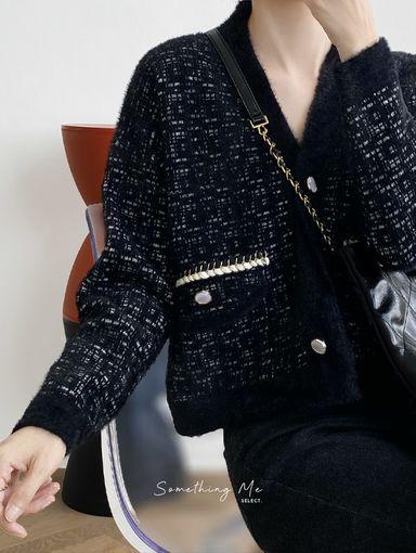 OE201011 奢華小香風開襟毛毛外套