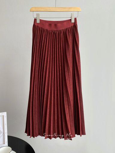 BE201202 素色A-Line百褶裙 4色