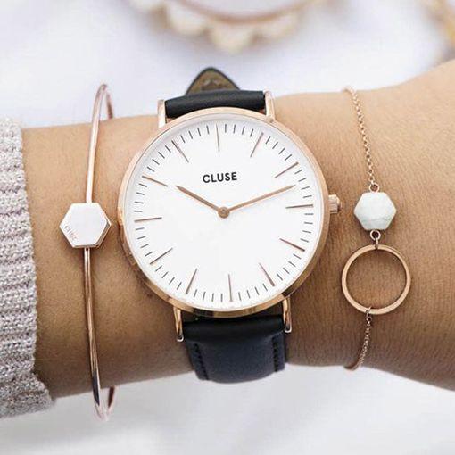 CL18008 CLUSE 手錶 - LA BOHEME玫瑰金皮革錶帶款 (白錶面/黑錶帶)