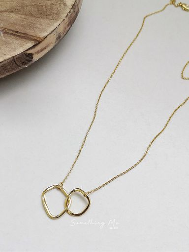 E200918 極簡不規則雙圓釦環鎖骨項鍊