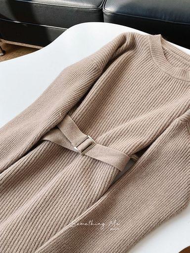 JE201201 溫柔落肩針織連身洋 2色