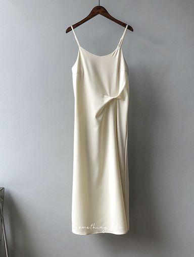 JE210403 復古緞面飄逸連身裙 4色