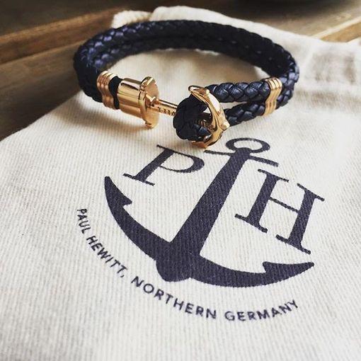 PH-PH-L-G-N (出清不退換)Paul Hewitt 手環 - Phreps 經典編織系列手環 (金扣/海