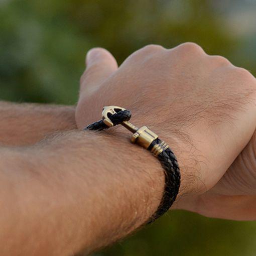 PH-PH-L-M-B Paul Hewitt 手環 - Phreps 經典編織系列手環 (古銅扣/黑色)