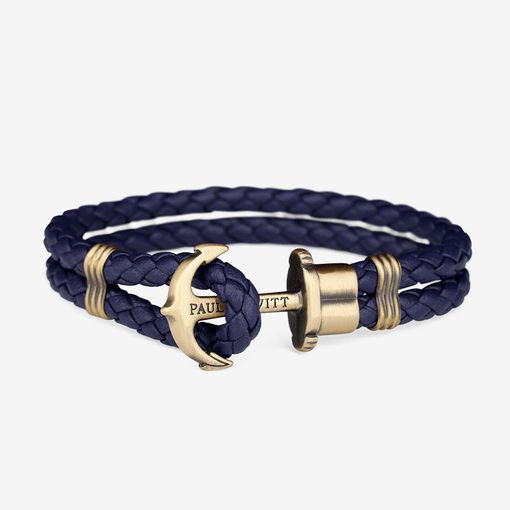 PH-PH-L-M-N Paul Hewitt 手環 - Phreps 經典編織系列手環 (古銅扣/海軍藍)