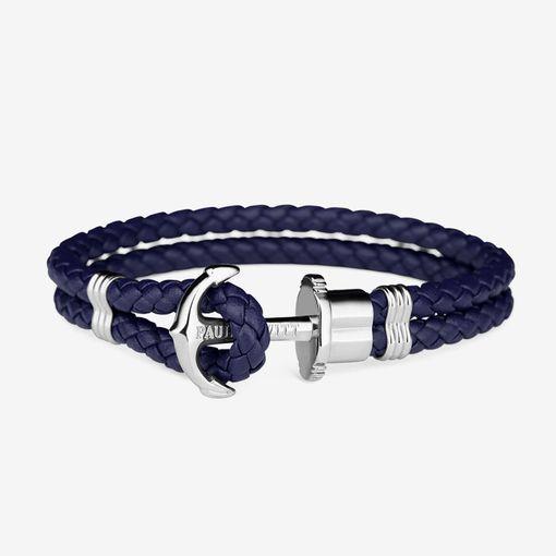 PH-PH-L-S-N Paul Hewitt 手環 - PHREP皮革編織手環 (銀扣/海軍藍)