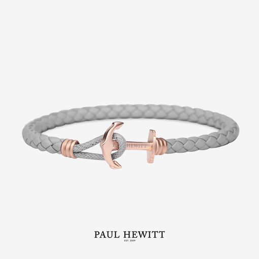 PH-PHL-L-R-Gr (出清不退換)Paul Hewitt 手環 - Phreps Lite單環皮革編織 (玫瑰