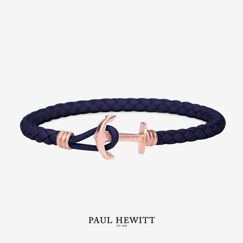 PH-PHL-L-R-N Paul Hewitt 手環 - Phreps Lite單環皮革編織 (玫瑰金扣/海軍藍)