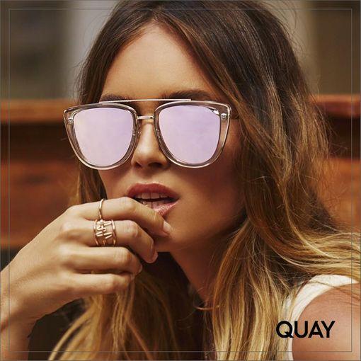 QW-000172-CLR-ROSE Quay 太陽眼鏡 - French Kiss 膠框太陽眼鏡 (透明框/鏡光粉)