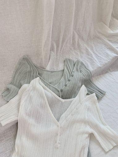 T200520 [出清不退換]心機透膚假兩件式針織上衣