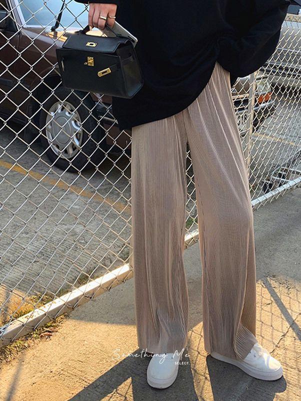 T200613 視覺增高!慵懶壓紋垂墜寬褲 3色