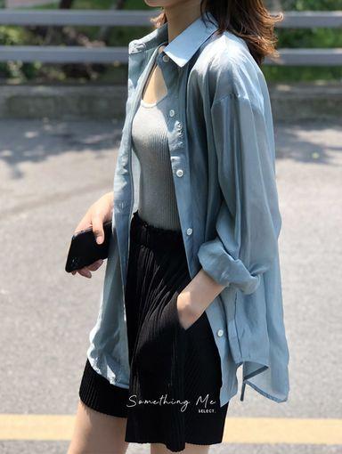 T200626 極美貝殼光澤感後繫帶衫 4色