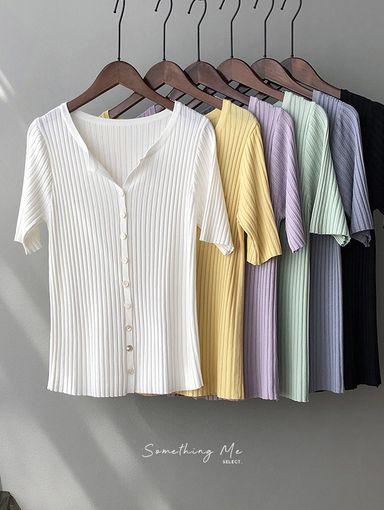 TF210407 小清新V領針織上衣 6色