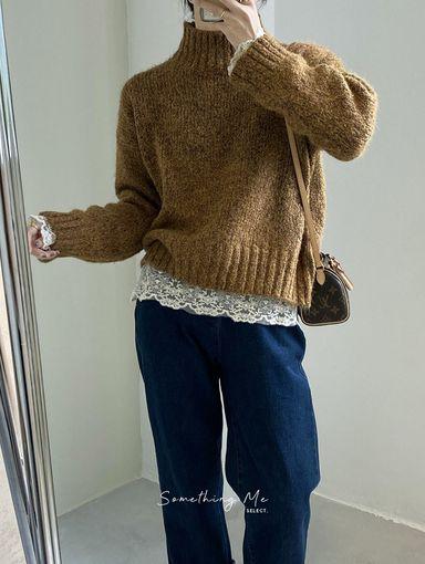 TE201204 柔軟微高領短版毛衣 4色