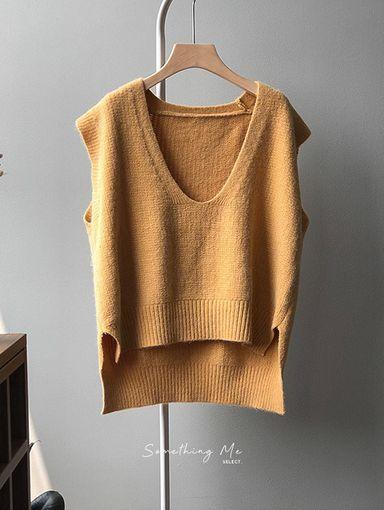 TE201201 落肩慵懶大V領背心毛衣 5色