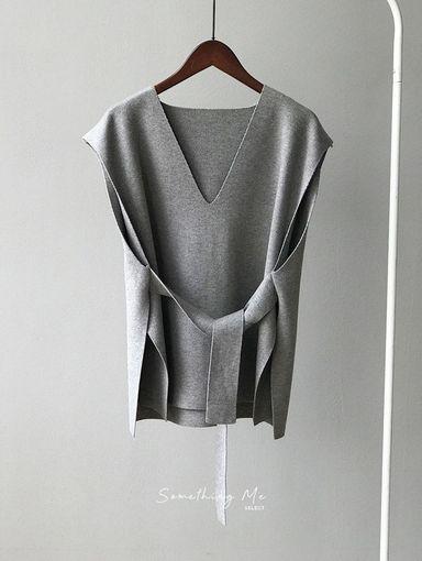 TF201002 [出清不退換]法式V領綁帶針織背心 5色