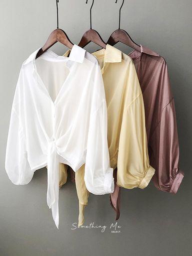 TF210412 微絲光輕薄防曬綁帶襯衫 3色
