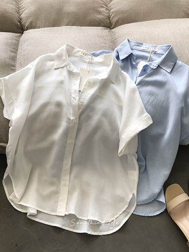 TF210530 法式亞麻短袖襯衫 2色