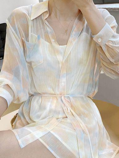 TF210629 法式渲染印花雪紡襯衫+短褲(套組)