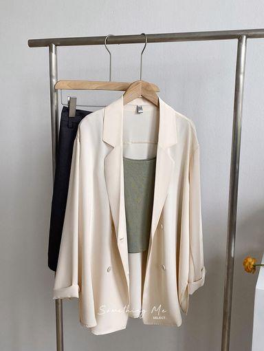 OF210601 慵懶涼感雪紡西裝外套 3色