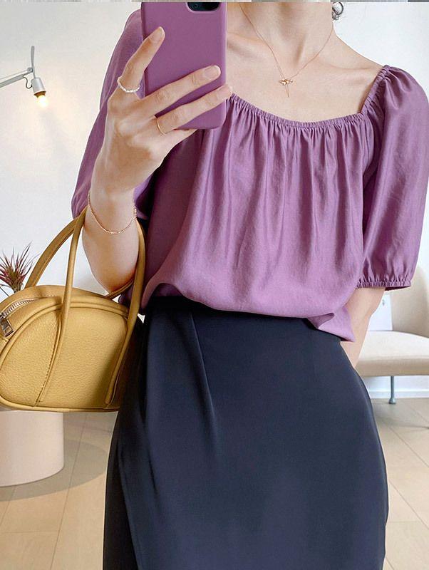 TF210630 法式兩穿方領絲光上衣 3色
