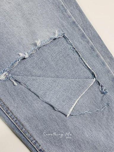 BF210703 破洞高腰落地牛仔寬褲