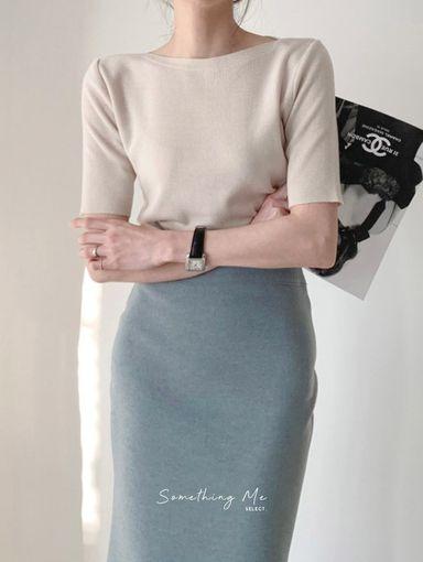 TF210709 法式簡約冰絲針織上衣 3色