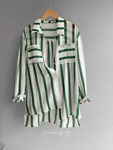 TF210712 法式慵懶棉麻直紋襯衫 2色