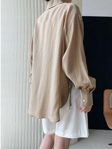 TF210737 慵懶絲光長袖襯衫 3色