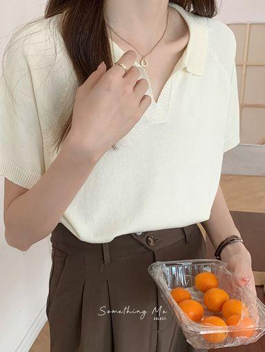 TF210731 溫柔純色POLO領短袖針織 3色