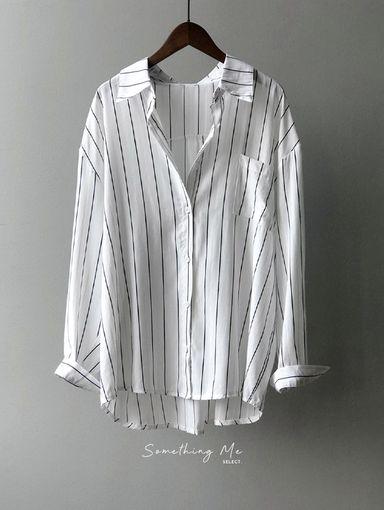 TF210817 簡約直紋微鬆襯衫 2色