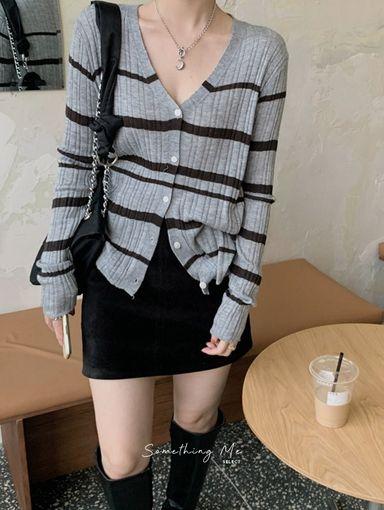 TF210912 時髦橫紋針織上衣 5色