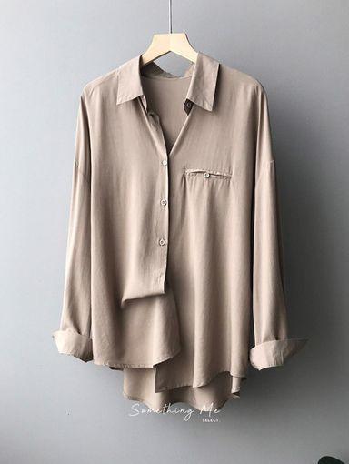 TF210932 氣質絲柔長袖襯衫 4色