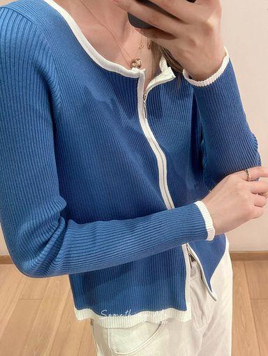 OF211003 赫本細柔拉鍊針織開衫 3色