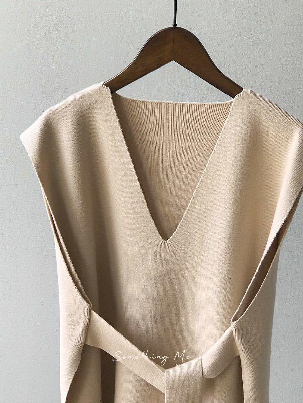 TF201002 法式V領綁帶針織背心 5色